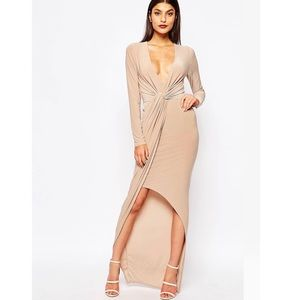 Club L Slinky Maxi Dress With Knot Front Detail